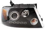 2004-2008 Ford F-150 Headlights with Halo LED, Black, by AnzoUSA