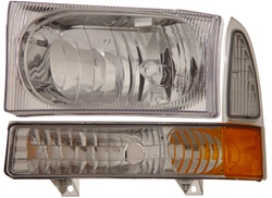 1999-2007 Ford Super Duty Crystal Set Headlights, Chrome, by AnzoUSA