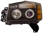 2004-2007 Nissan Titan Halo Headlights, Black, by AnzoUSA