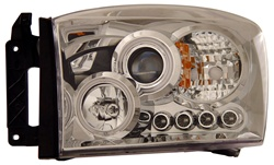 2006-2008 Dodge Ram Projector Headlights, Chrome, by AnzoUSA