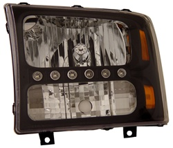 1999-2007 Ford Super Duty 1 pc. Headlights, Black, by AnzoUSA