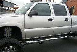 "Silverado Big Step 4"" Round Stainless Side Bars by Aries"
