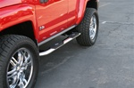 "Hummer H3 Deluxe Oval 4"" Stainless Steel Side Bars by Aries"