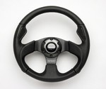 H1 Momo Jet Black Steering Wheel w/ Hub Adaptor