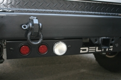 '97-'11 Jeep Wrangler Rear Ground Bar 4-Functions By Delta - LED Stop/Turn / LED Backup + Backup Sensors DEL-01-9585-SEL