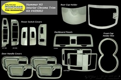 HUMMER H3 2006-2007 ABS 15pc Chrome Interior Trim Kit by Putco, H3T, 09-10