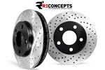 Hummer H2 Drilled Rotors Factory Replacement Rear By Brembo - Set of 2