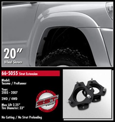 "ReadyLift™ kit is the fastest, safest, least expensive way to bring the front of your 05-07 Tacoma level with the rear. This gives you the clearance and ability to add wheels and tires up to 32"" in diameter."