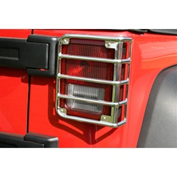 07-11 JK Wrangler Euro Tail Light Armor by Rugged Ridge - Stainless Steel - Pair