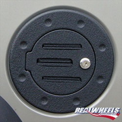 H3T Grooved Black Billet Aluminum Fuel Door by Real Wheels