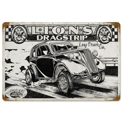 Lions Dragstrip Anglia Tin Sign by SLP