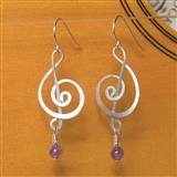 Silver & Amethyst Treble Clef Earrings