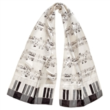 Cream Sheet Music & Keyboard Scarf