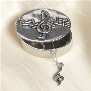 Pewter Trinket Box with Treble Clef Necklace