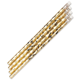 Metallic Gold Music Notes Pencil