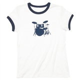 Drumset Fitted Junior Ringer T-Shirt