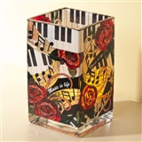 Music is Life Square Glass Vase