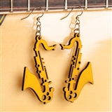 Laser-Cut Wood Saxophone Earrings