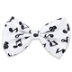 Black on White Music Notes Bow Tie