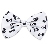 Black on White Music Notes Bowtie