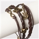 Brown Braided Leather Vintage Music Bracelet