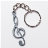 Treble Clef Pewter Keychain