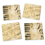Notes & Keys Absorbent Tile Coasters