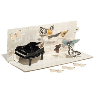 Piano & Butterflies Pop-Up With Sound Greeting Card