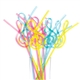 Bright Plastic G-Clef Straws 12-Pack