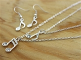 Double Chain Sparkle Notes Necklace & Earrings Set