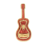 'I Love Music' Wooden Guitar Mini Basket with Lid