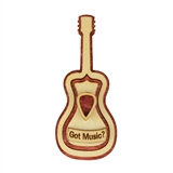 'Got Music?' Wooden Guitar Mini Basket with Lid