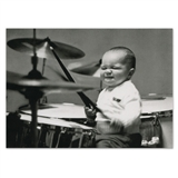 Drumming Baby Birthday Card