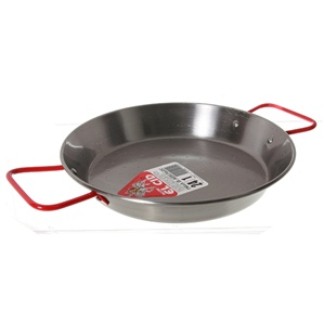 "9.5"" Carbon Steel Paella Pan (24 cm, red handles)"