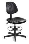 "7300D Dura Polyurethane Chair, Manual Back Adj., 5-Star Black Nylon Base,  Adj. 18"" Chrome Footring, Mushroom Glides. Seat Height Adjusts 19"" - 26.5"""