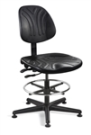 "7501D Dura Polyurethane Chair, Articulating Seat & Back Tilt, 5-Star Black Nylon Base, Adj. 18"" Chrome Footring, Mushroom Glides. Seat Height Adjusts 21"" - 31"