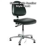 "Bevco 9050LE2-BK - Integra-ECR 9000 Series Class 10 ESD Cleanroom Chair - Static Control Vinyl - 15.5""-21"" - ESD Mushroom Glides - Black"