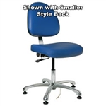"Bevco 9050LE4-BL - Integra-ECR 9000 Series Class 10000 ESD Cleanroom Chair - Static Control Vinyl - 15.5""-21"" - ESD Mushroom Glides - Blue"