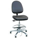 "Bevco 9350LE1-BK - Integra-ECR 9000 Series Class 10 ESD Cleanroom Chair - Static Control Vinyl - 19""-26.5"" - ESD Mushroom Glides - Black"