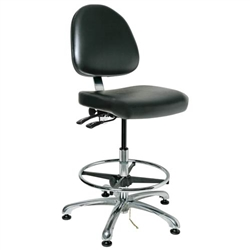 "Bevco 9550ME-BK- Integra-ECR 9000 Series Class 10 ESD Cleanroom Chair - Static Control Vinyl Medium Back - 21.5""-3.5"" - ESD Mushroom Glides - Black"