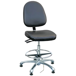 "Bevco 9551LE1-BK - Integra-ECR 9000 Series Class 10 ESD Cleanroom Chair - Static Control Vinyl - 21.5""-31.5"" - ESD Mushroom Glides - Black"