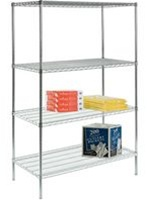 "4 Shelf Wire Shelving Unit  18"" D x 48""L x 63""H: Lakeside Industries: R184863CS-4"