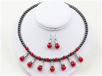 Coral and Hematite Set