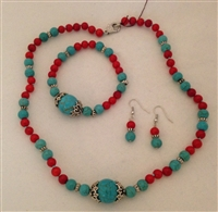 Turquoise & coral 3 piece set