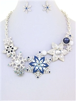 Silver and Blue Snowflake Set