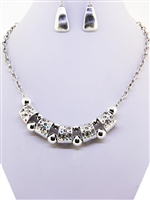 Silver and Rhinestone Necklace and Earrings Set