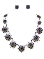 Black Starburst Necklace and Earrings Set