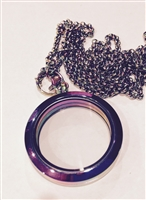 Circle Locket in Rainbow Plain
