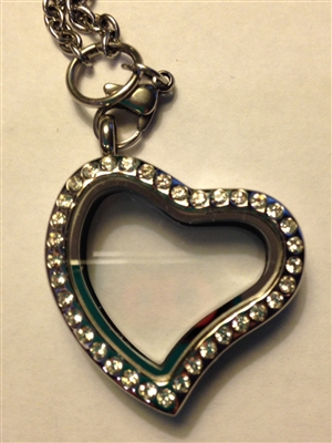 Heart Locket with Rhinestones
