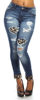 Denim Jean with Leopard Cuff & Patch